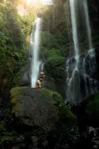 person wearing dinosaur costume standing on rock near waterfalls